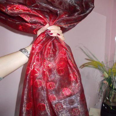 Perdea  organza rosie