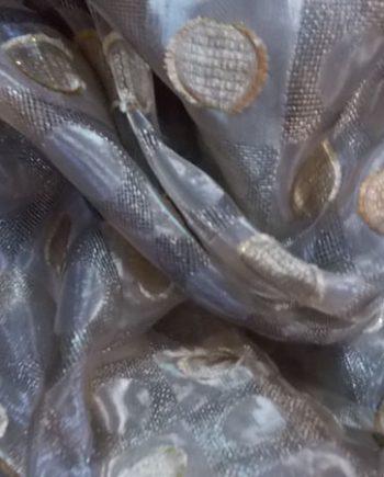 Perdea  organza maro cu buline