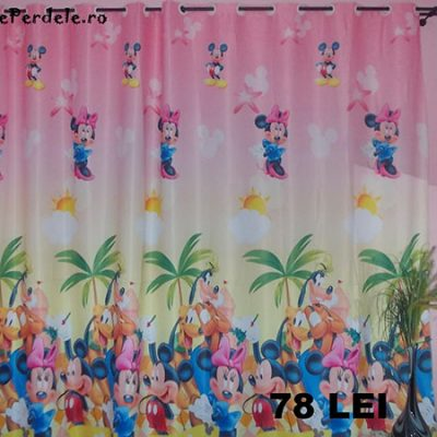 Draperie blackout fond mov, cu Mickey si Minnie